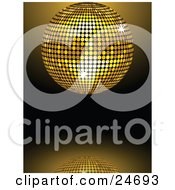 Clipart Illustration Of A Sparkling Golden Mirror Disco Ball Spinning Over A Reflective Background