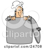 Clipart Illustration Of A Silly Male Caucasian Chef Wearing A Hat And Peeking Out From Inside A Stock Pot
