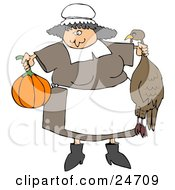 Friendly Chubby Pilgrim Woman In An Apron Holding A Pumpkin And Dead Turkey Preparing A Feast For Thanksgiving