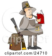 Male Pilgrim Standing By A Dead Turkey On A Stump And A Rifle Reading A Book On How To Cook The Bird