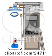 Clipart Illustration Of A Furnace And Water Heater In A Residential Home The Cover Off Of The Furnace