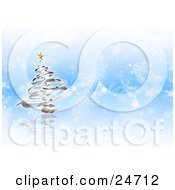 Clipart Illustration Of A Silver Spiral Christmas Tree With A Gold Star Star Over A Blue And White Snowflake Background