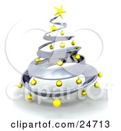 Clipart Illustration Of A Metallic Silver Metal Christmas Tree Decorated In Yellow Ornaments And A Golden Star Over White