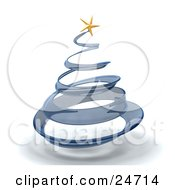 Clipart Illustration Of A Blue Glass Spiral Christmas Tree With A Gold Star On Top Over White
