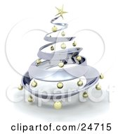 Clipart Illustration Of A Metallic Chrome Metal Christmas Tree Decorated In Gold Ornaments And A Golden Star Over White