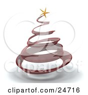 Clipart Illustration Of A Red Glass Spiral Christmas Tree With A Gold Star On Top Over White