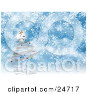 Clipart Illustration Of A Silver Spiral Christmas Tree With Colorful Ornaments And A Star Over A Blue And White Snowflake Background