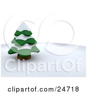 Clipart Illustration Of An Evergreen 3d Tree Covered In Snow On A Wintry Hill