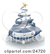 Clipart Illustration Of A Blue Glass Spiral Christmas Tree With A Gold Star On Top Decorated With Colorful Baubles Over White