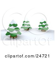 Clipart Illustration Of Three Evergreen Trees Flocked In Snow On A Hill In Winter