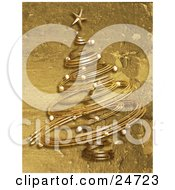 Spiral Christmas Tree In Gold Over A Textured Grunge Background
