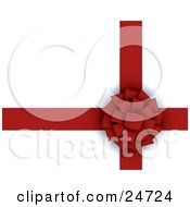 Clipart Illustration Of An Intricate Red Circle Bow Tied On A Red Ribbon Over A White Background