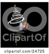Clipart Illustration Of A Silver Spiraled Christmas Tree With Gold Ornaments And A Star Over Gifts On A Reflecting Black Surface