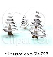 Clipart Illustration Of Three Wintry Pink Trees With Silver Spirals In A Winter Landscape