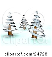Clipart Illustration Of A Winter Landscape With Three Spiraled Trees In Nature