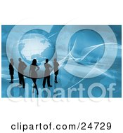 Clipart Illustration Of Silhouetted Men And Women Standing Around A Globe Over A Blue Background With A Map And Twisted White Grids