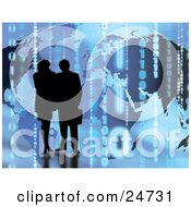 Clipart Illustration Of A Silhouetted Couple Standing In Front Of A Map Background With Binary Coding