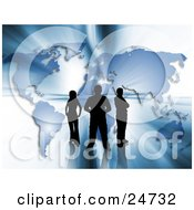 Three Silhouetted People Standing In Front Of A Blue Map With Bright Bursts Of Light