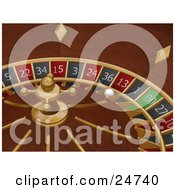 White Roulette Ball In The 13 Slot Of A Roulette Wheel In A Casino