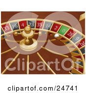 Clipart Illustration Of A White Roulette Ball In The 0 Slot Of A Roulette Wheel In A Casino