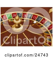White Roulette Ball In The 7 Slot Of A Roulette Wheel In A Casino