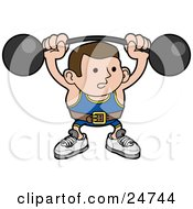 Clipart Illustration Of A Strong Body Builder Holding A Heavy Barbell Above His Head And Wearing A Belt