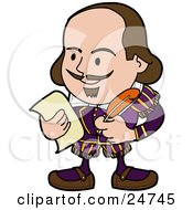 Clipart Illustration Of Shakespeare With A Beard And Mustache Holding A Quill Pen And A Piece Of Paper