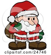 Santa Claus In A Red And White Suit Standing And Grinning With Flushed Cheeks Carrying A Sack Of Toys Over His Shoulder