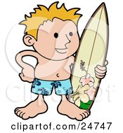 Happy Blond Surfer Dude In Blue Hawaiian Shorts Standing On The Beach With A Surfboard