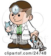 Clipart Illustration Of A Friendly Male Veterinarian Petting A Dog And Holding A Cat During A Yearly Exam by AtStockIllustration
