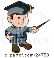 Clipart Illustration Of A Friendly Male Teacher In A Graduation Cap And Blue Uniform Waving Around A Pointer Stick While Teaching Class
