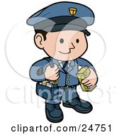 Clipart Illustration Of A Friendly And Smiling Mail Man In A Blue Uniform Carrying A Bag Of Letters