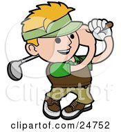 Clipart Illustration Of A Blond Man Smiling While Swinging A Golf Club During A Day At The Course by AtStockIllustration