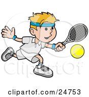 Clipart Illustration Of An Athletic Blond Man Running After A Tennis Ball During A Game On The Court by AtStockIllustration