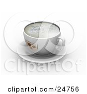 Frothy Cup With Coffee Bean Designs On Top Of A White Saucer