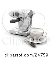 Chrome Espresso Maker Machine With A Cup Sugar And A Spoon On A White Kitchen Counter