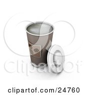 Clipart Illustration Of A Hot Coffee In A Cup With The Lid Resting Against The Side