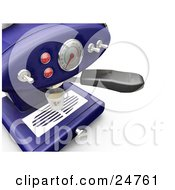 Clipart Illustration Of A Blue Espresso Maker With Chrome Knobs On A Kitchen Counter Pouring Into A Cup by KJ Pargeter