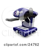 Clipart Illustration Of A Chrome And Blue Cappuccino Machine With Chrome Knobs On A Kitchen Counter by KJ Pargeter