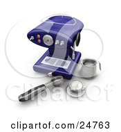 Clipart Illustration Of A Blue Cappuccino Maker With Utensils And A Cup On A Kitchen Counter