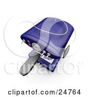 Clipart Illustration Of A Blue Espresso Machine With Chrome Knobs On A Kitchen Counter As Seen From Above Over White