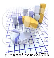 Clipart Illustration Of A White Character Completing A Pie Chart With A Yellow Piece In Front Of A Bar Graph Over A Grid Background