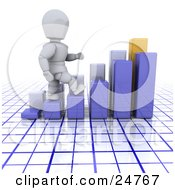 White Character Walking Up The Steps Of A Blue Bar Graph In Front Of Another Graph Over A Blue And White Grid