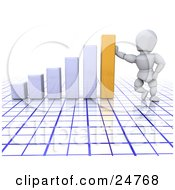 Clipart Illustration Of A White Character Leaning Against A Golden Bar On A White Graph Over A Blue And White Grid Symbolizing Success by KJ Pargeter