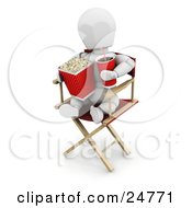 White Character Sitting In A Directors Chair Holding A Soda And Eating Movie Popcorn