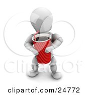 Clipart Illustration Of A White Character Carrying A Large Red Fountain Soda With A Straw