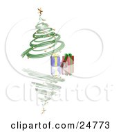 Clipart Illustration Of A Green Spiraled Christmas Tree With Gold Ornaments And A Gold Star Over Presents On A Reflecting White Surface