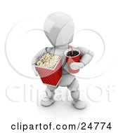 White Character At The Movie Theater Holding A Fountain Soda And A Bucket Of Popcorn