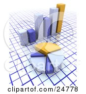Clipart Illustration Of A Yellow And Blue Pie Chart In Front Of A Matching Bar Graph Over A Grid Background by KJ Pargeter