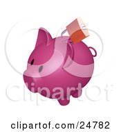 Clipart Illustration Of A Golden Padlock On The Slot Of A Dark Pink Piggy Bank by KJ Pargeter